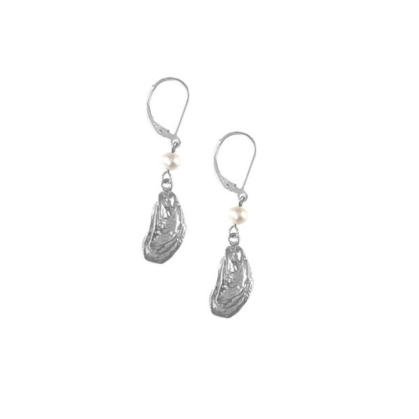 Mini Oyster Drop Earrings with Pearl