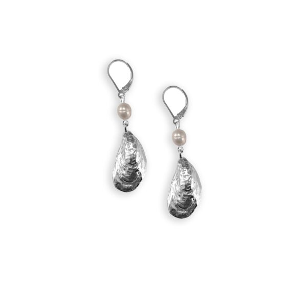 Atlantic Oyster Drop Earrings with Pearl