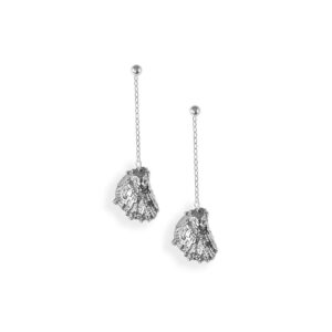 Small Eastern Oyster Drop Chain Earring with Pearl