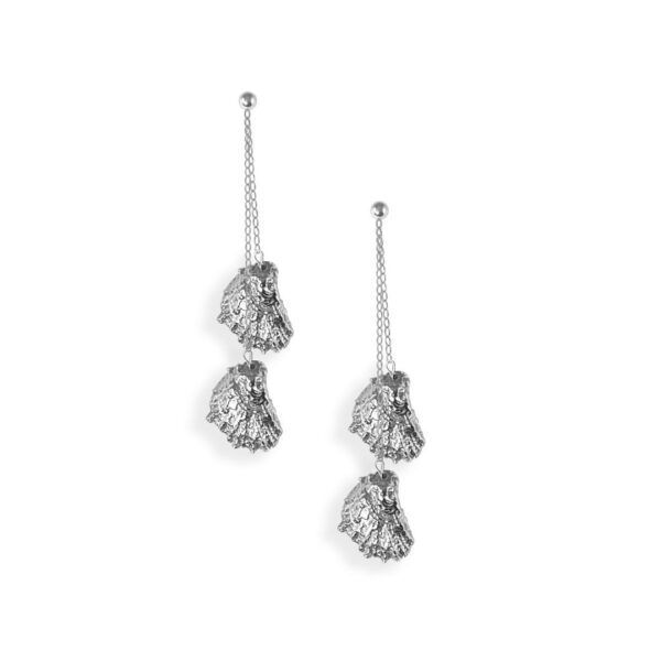 Small Eastern Oyster Double Drop Chain Earring with Pearl