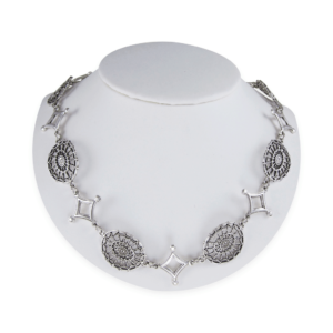 DAR Oval and Diamond Link Together Necklace