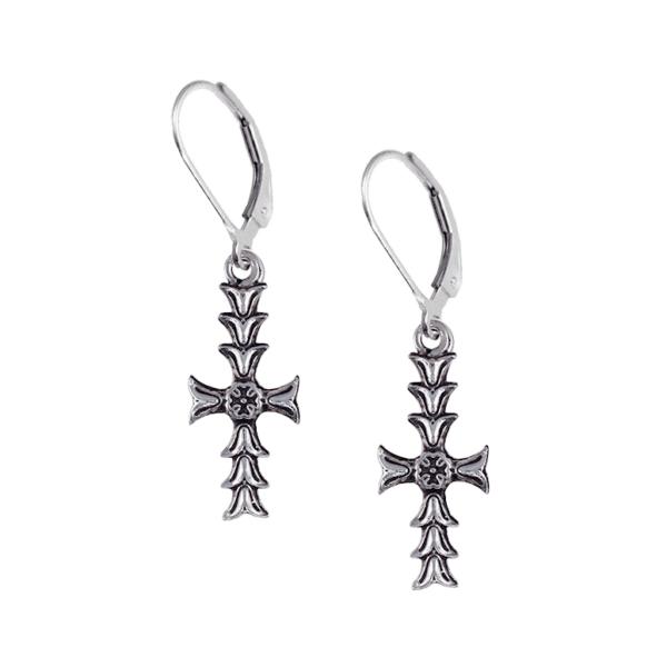 DAR Cross Leverback Earrings