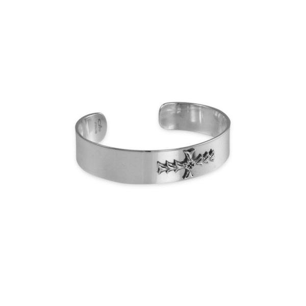 DAR Solid Sterling Silver Cross Cuff Bracelet