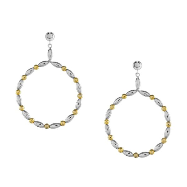 Charleston Rice Bead Medium Hoop Earring with Gold Filled Accent Beads