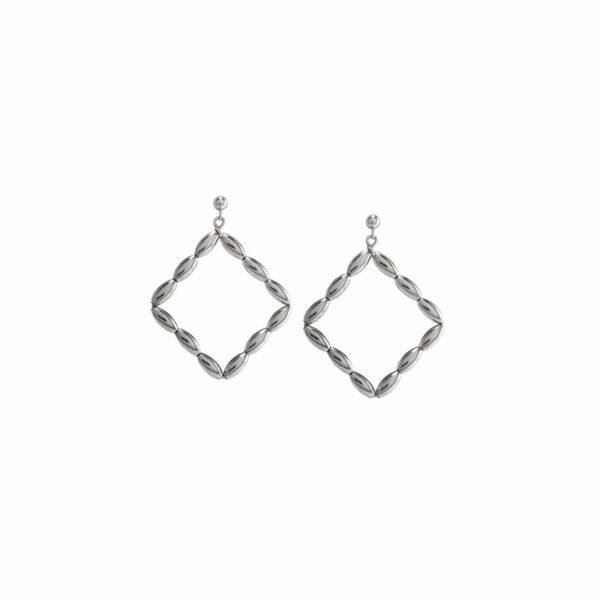 Charleston Rice Bead Small Diamond Hoop Earring