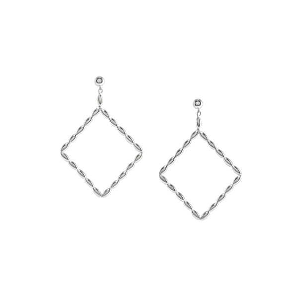 Charleston Rice Bead Large Diamond Hoop Earring