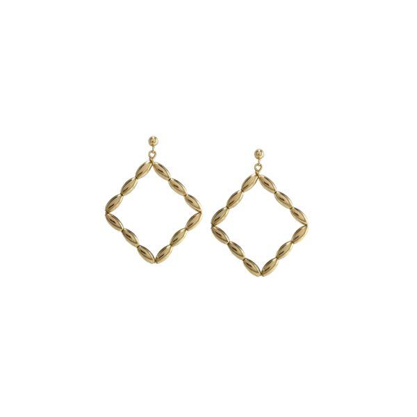 Charleston Rice Bead Small Diamond Hoop Gold Filled Earring