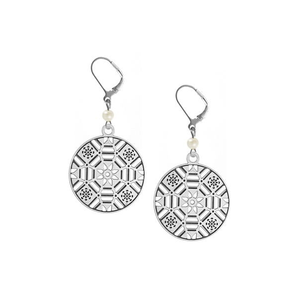 First Baptist Leverback Earrings with Freshwater Pearl