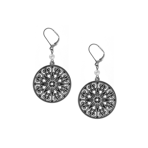 College of Charleston Leverback Earrings with Pearl