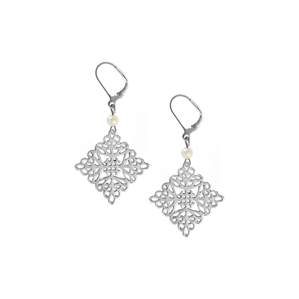 St. Michael's Leverback Earrings with Freshwater Pearl