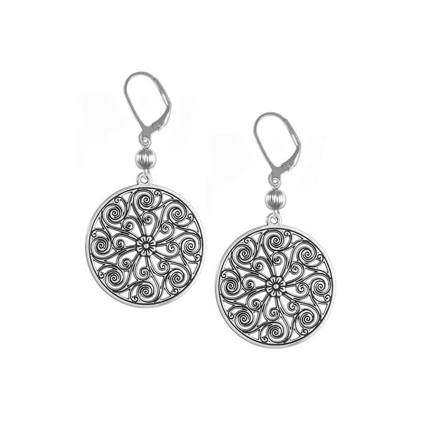 Market Hall Leverback Earrings with Sterling Silver Bead
