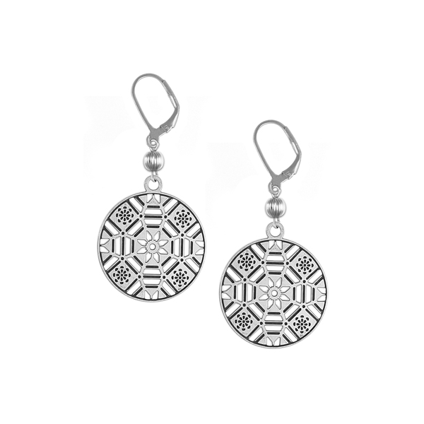 First Baptist Leverback Earrings with Sterling Silver Bead