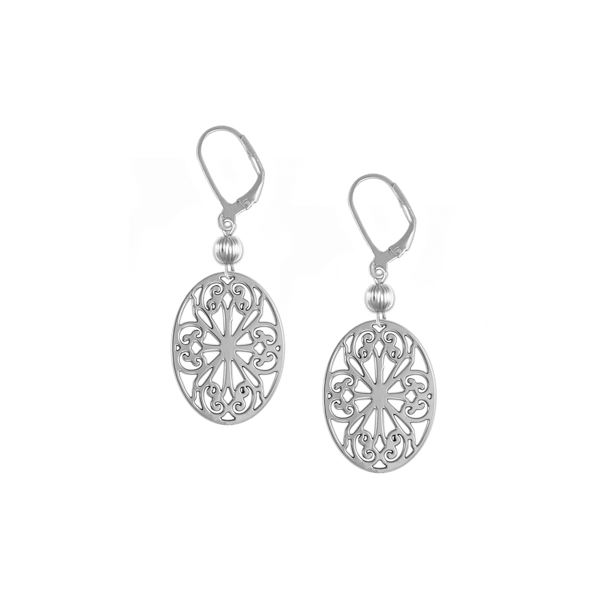 St. Philip's Leverback Earrings with Sterling Silver Bead