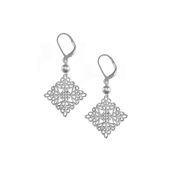 St. Michael's Leverback Earrings with Sterling Silver Bead