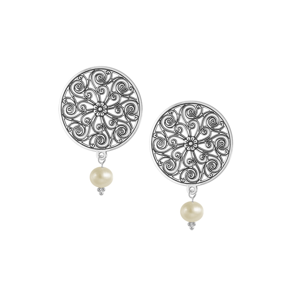 Market Hall Post Earrings with Freshwater Pearl