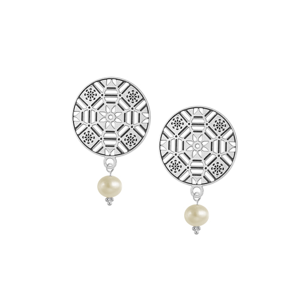 First Baptist Post Earrings with Freshwater Pearl