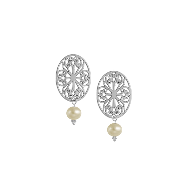 St. Philip's Post Earrings with Freshwater Pearl