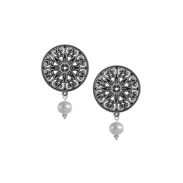 College of Charleston Post Earrings with Drop Pearl