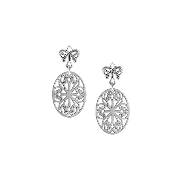 St. Philip's Post Earrings with angel fleur de lis
