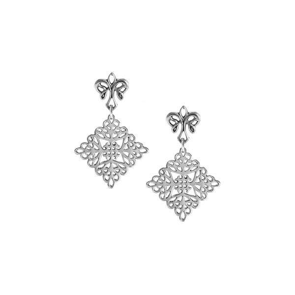 St. Michael's Post Earrings with angel fleur de lis