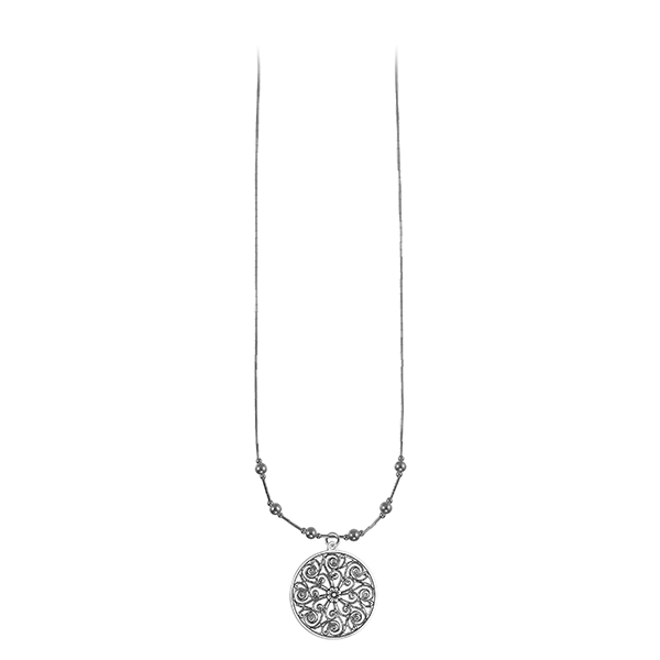 Market Hall Liquid Silver Necklace with Sterling Silver Beads