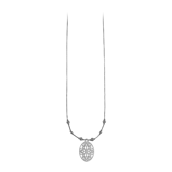 St. Philip's Liquid Silver Necklace with Sterling Silver Beads