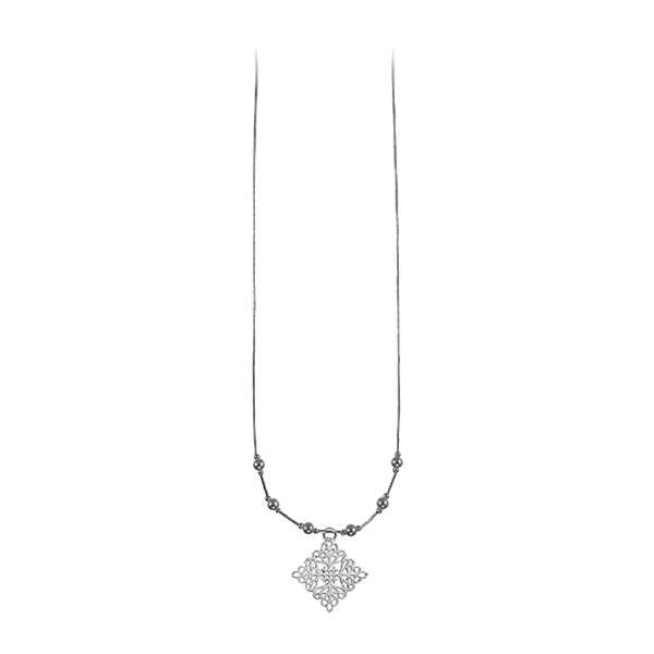 St. Michael's Liquid Silver Necklace with Sterling Silver Beads