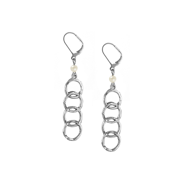 Regency Leverback Earrings with Freshwater Pearl
