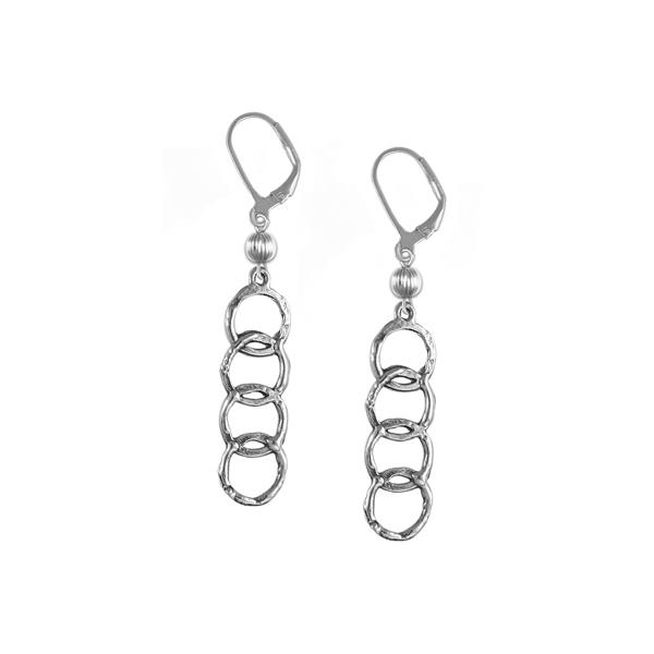 Regency Leverback Earrings with Sterling Silver Bead