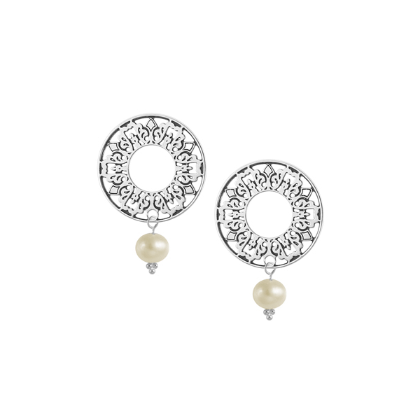Cooper Bee Post Earrings with Freshwater Pearl