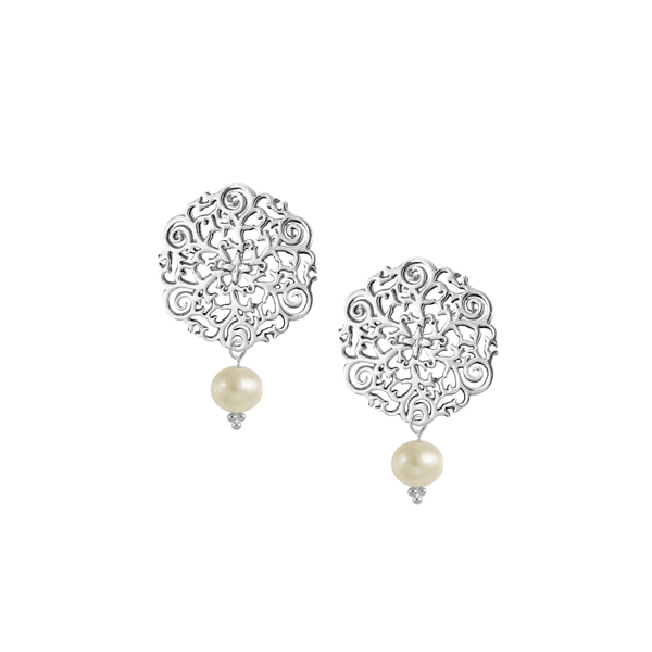 St. Philip's Steeple Post Earrings with Freshwater Pearl