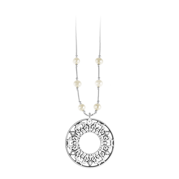 Cooper Bee Liquid Silver Necklace with Freshwater Pearls