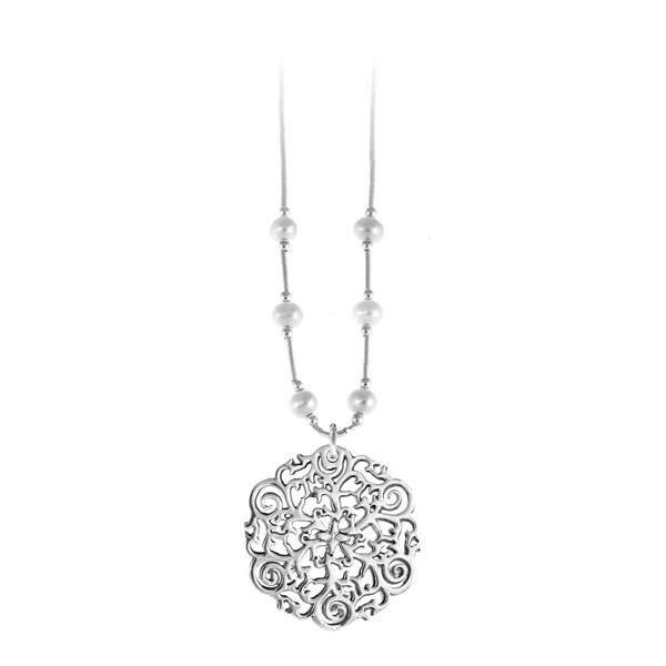 St. Philip's Steeple Liquid Silver Necklace with Freshwater Pearls
