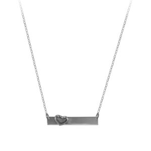 Bar Necklace with Floating Heart