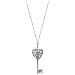 Philip Simmons Heart with Cross and Key Cable Chain Necklace