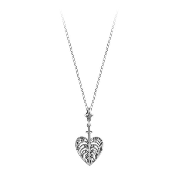 Philip Simmons Heart with Cross on Cable Chain Necklace with Fan Bail
