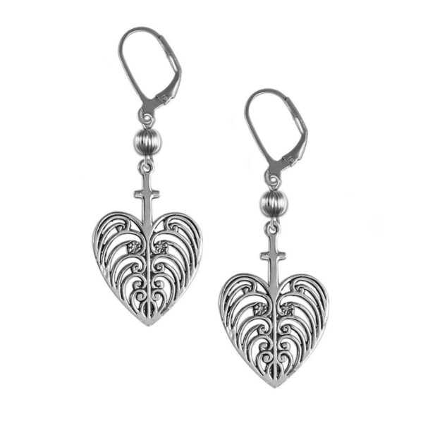 Philip Simmons Heart with Cross Drop Earrings with Ball